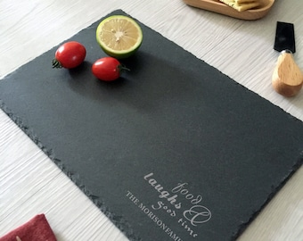 custom slate cheese board, personalized cutting boards, engraved, stone cutting board, laser, housewarming gift ideas, Home decor,