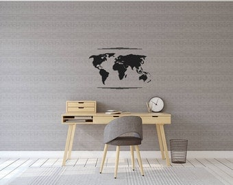 World map - vinyl on decal paper so you can decorate whatever you like – Wall décor