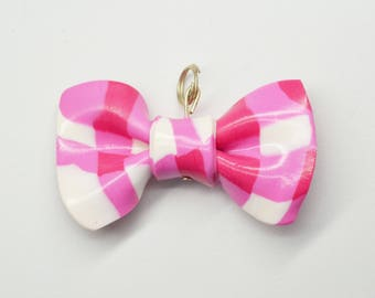 Bow tie Plaid - polymer clay pendant