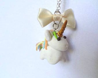 Unicorn in polymer clay necklace