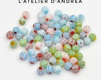 pretty 100 x beads vintage round Millefiori glass in shades of pastels, 5 mm