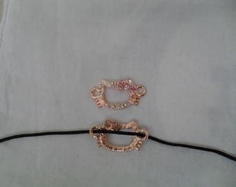 metal color copper with kitty head rhinestone connector