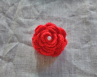 Crochet, red rose brooch or bag accessory