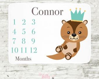 Otter Baby Boy Milestone Blanket, Personalized Baby Blanket, Monthly Baby Blanket, Baby Boy Blanket, Baby Blankie, Baby Boy Prince Blankie