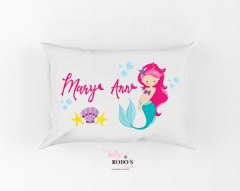 Mermaid Pillow, Personalized Mermaid Pillow, Mermaid Pillow For Girls Room, Girl Personalized Mermaid Pillow, Mermaid Sea Pillow, Mermaid
