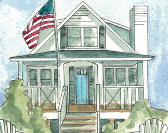 CUSTOM HOUSE PORTRAIT. Original watercolor home painting. 5x7 House Portrait. Illustration of your home.
