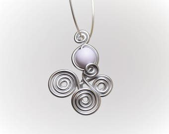Silver Aluminum wire and White Pearl pendant