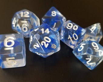 Dungeons and Dragons Dice set- Blue Vapor - Role playing dice dnd Dice rpg d&d dice d20 RPG Role Playing Games polyhedral Dice Envy
