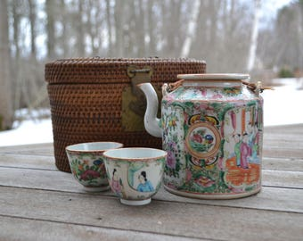 Chinese Rose Medallion Famille Tea Set in Woven Basket