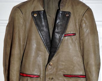 Deer leather jacket Bavaria traditional-style deer leather for men size 46 (XS)