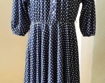 40s style blue dress with white dots