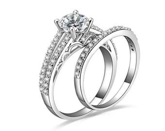 2Pc Classy Sterling Silver Wedding Engagement Rings Set Women's Size 3-12 SAB019