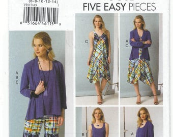V9117 - Vogue - 5 easy pieces - Separates Misses' Cardigan, Top, Dress, Skirt & Pants - New sewing pattern - Size A5 6-8-10-12-14