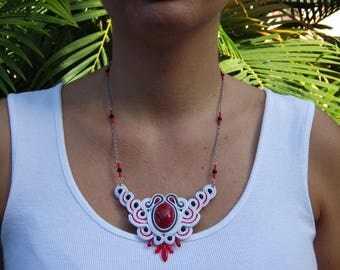 Bib soutache, glass beads and stainless steel necklace