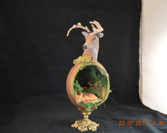 Deer, BucK, Fawn, Ostrich Egg Woodland