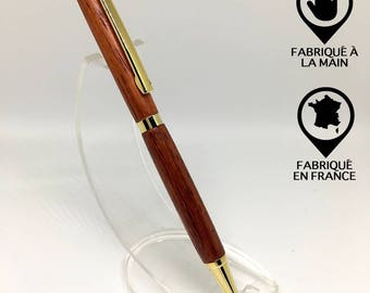 Pen in gold plated padouk wood 24K, Christmas gift idea.