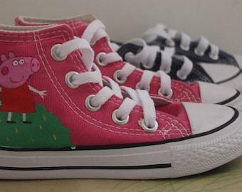 peppa pig converse low top custom handpainted kids sneakers personalized shoes
