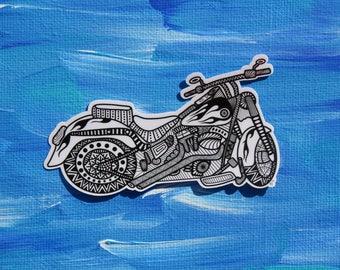 Zentangle Doodle Sticker- Motorcycle