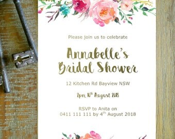 Printable Custom Personalised Bridal Shower Baby shower INVITATION - boho floral