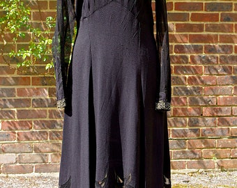 1930's Black Crepe & Rhinestone Flapper Evening Dress