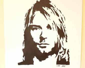 Limited Edition Kurt Cobain Nirvana Hand-Painted Poster Painting A2 Black and White
