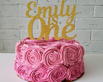 1st birthday cake topper. One cake topper. Name is one cake topper. Personalized birthday name cake topper. Gold one cake topper. One topper