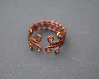 Copper Four Loop Wire Wrapped Ring