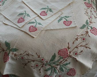 Vintage Needlework Cross Stitch Embroidery Square Tablecloth & Napkins | It's Strawberry Season