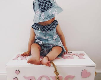 Oriental baby tunic hat and bloomers