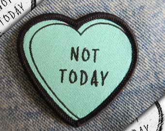 Not Today Heart Patch - Iron On, Sew On