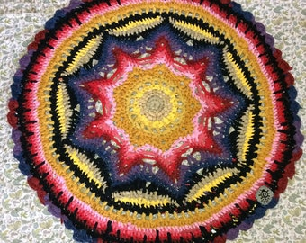 Large Bright colorfade crochet Mandala Round RagRug