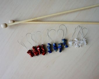 Markers for knitting - set of 4 semi-precious stones