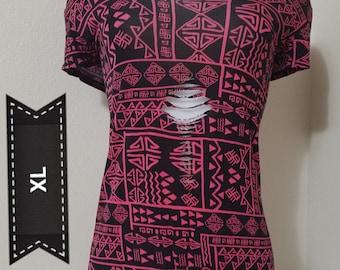 Pink Print Reversible Shirt- XL