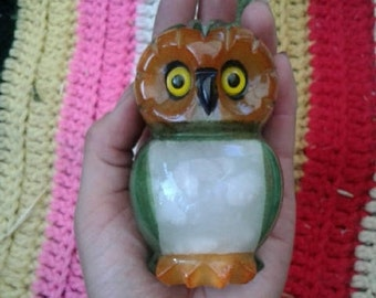 Green Alabaster Owl paperweight from Italy