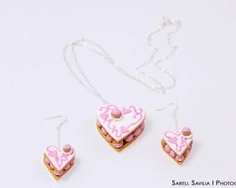 Cream heart earrings
