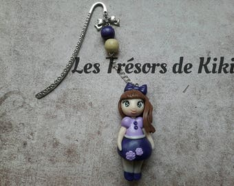 Hand made bookmark girl doll in fimo, polymer clay.