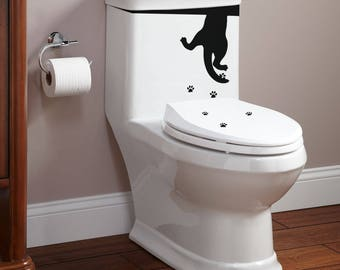 Toilet Decor Decal Set - The cat drinks from the WC - Yep.. it is true!, Toilets WC Fun Funny Cat Cats Rest Room Wash and Clean
