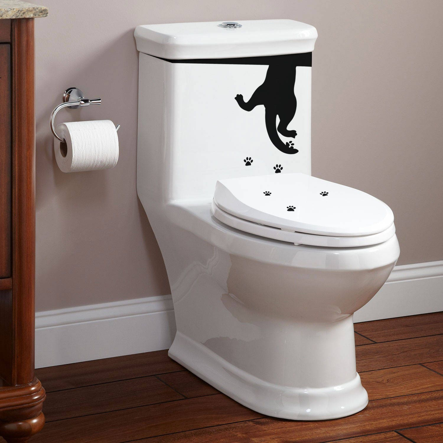 Toilet Decor Decal Set - The cat drinks from the WC - Yep.. it is ...