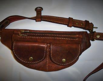 """Bag waistband """"crazy horse"""",Waist bag,Leather belt bag,Handmade bag,Handmade leather bag,Brown leather bag"""