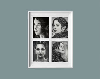 Hunger Games Inspired Katniss Everdeen Collage Fine Art Print