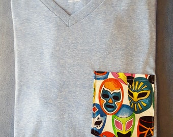 Luchador mask v-neck t-shirt, soft-washed, Small (US)