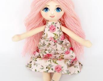 Handmade doll, pink doll, girl birthday, rag doll, girl gift, cloth doll, fabric doll, art doll, custom doll, doll, flower dress, girl gift
