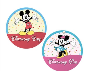Minnie Mouse Birthday Girl Button - Mickey Mouse Birthday Boy Button - Disney Park Button - Birthday Pin - Party Pin - Celebration Button
