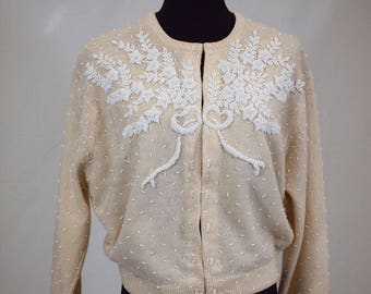 1950s beaded I. Magnin cardigan
