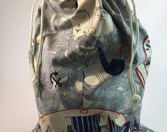 Handmade multipurpose drawstring bag.