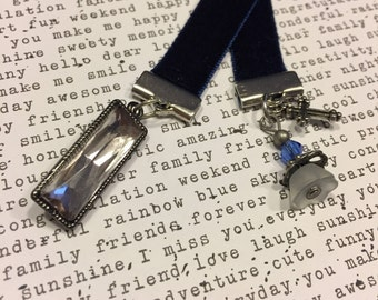 Charmed Navy Blue Velvet Bookmark