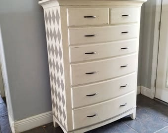 Hand Painted Distressed Harlequin Dresser