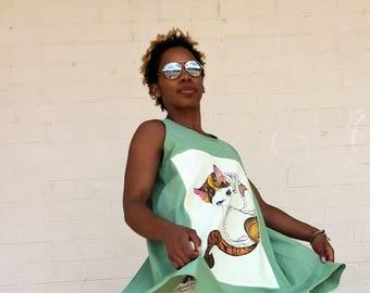 """Green Open Back """"Kitty"""" Cotton Tunic, Art Shirt, Summer Shirt, Original Designer Shirt, Hand painted dress."""