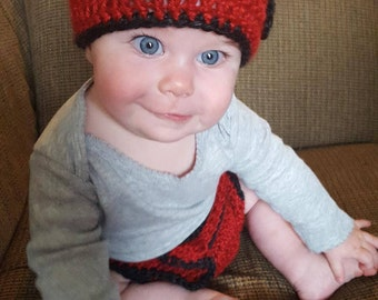 Crocheted Lady Bug Hat and Diaper Cover Set