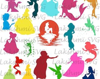 Princess svg,Princess SVG Bundle, princess clipart, disney princess  silhouette, files for cricut, svg, dxf, eps